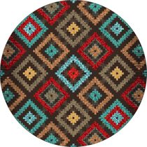 Diamond Dance Turquoise Rug - 8 Ft. Round