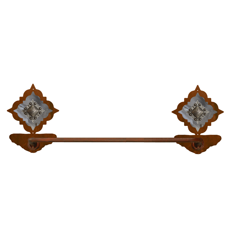 Diamond Old Silver Berry Hand Towel Bar - Rust