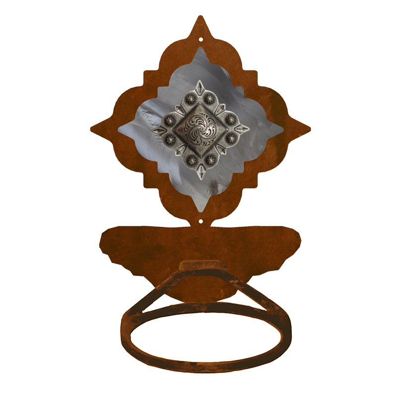 Diamond Old Silver Berry Towel Ring - Rust