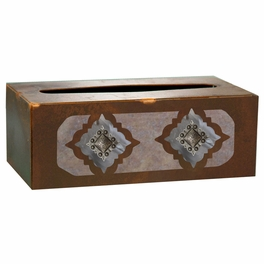 Diamond Silver Concho Rectangle Tissue Box Cover