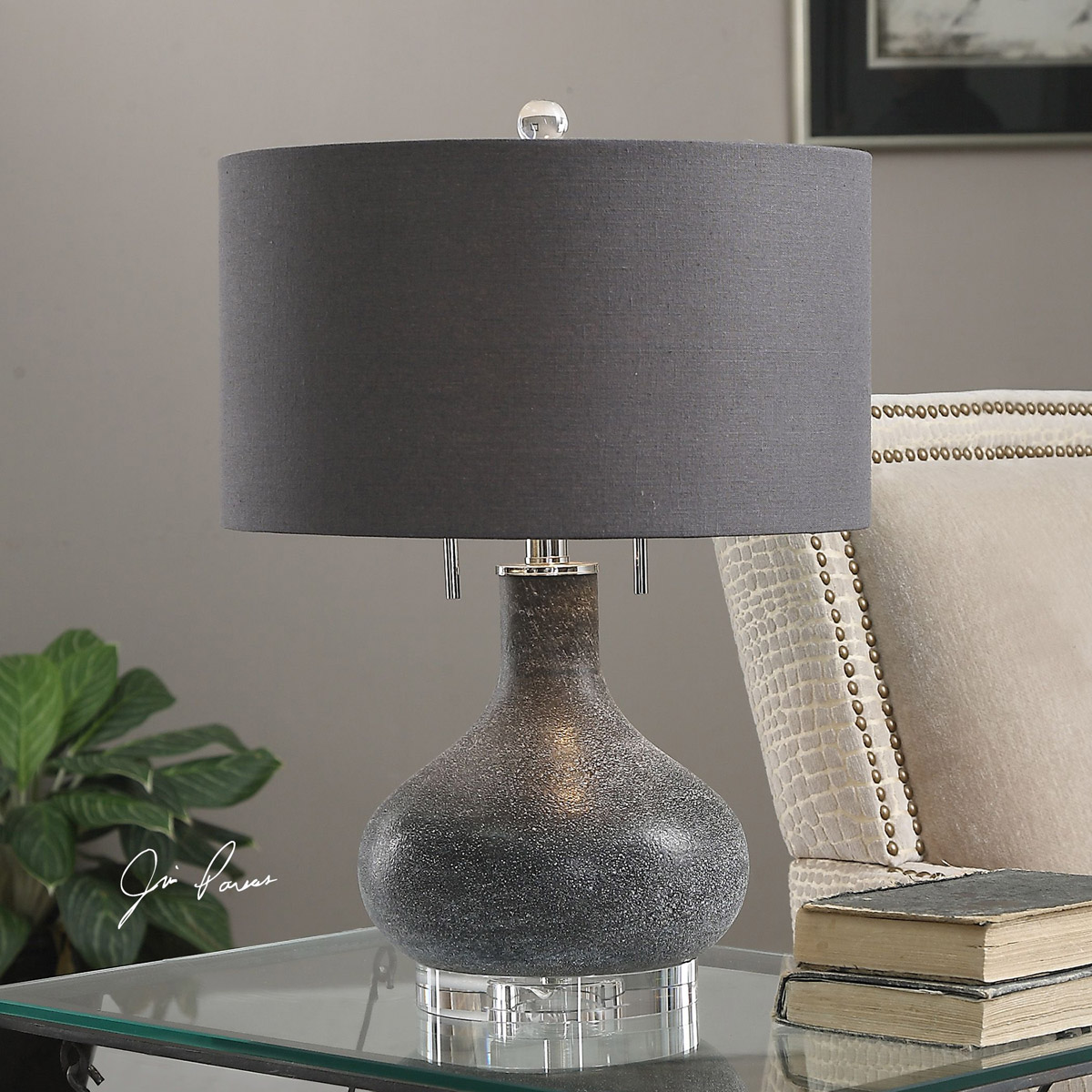 Distressed Black Glass Table Lamp