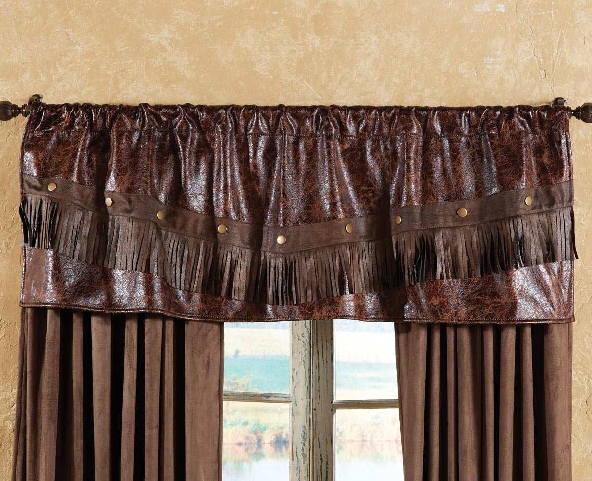 Distressed Leather Western Valance