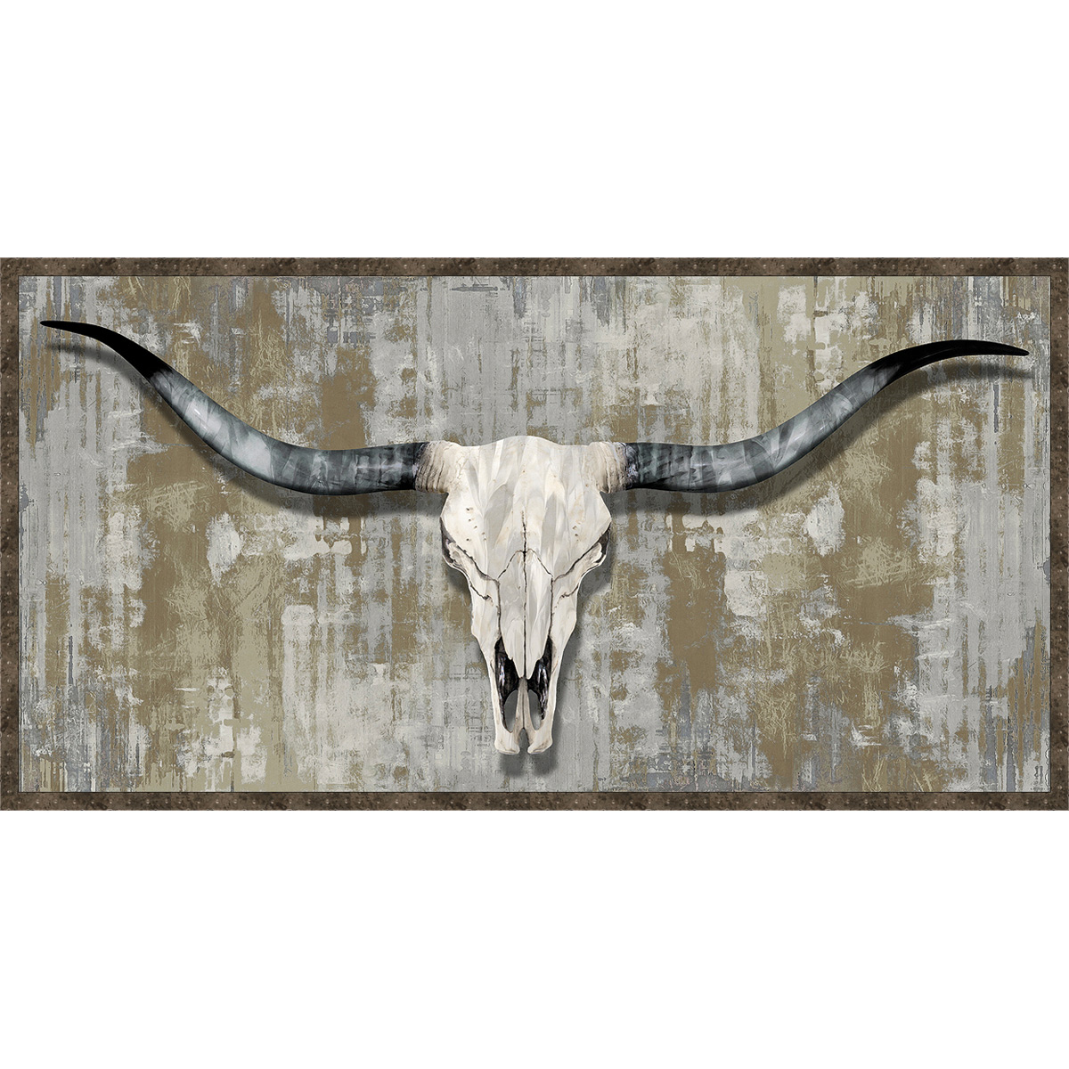 Distressed longhorn skull framed wall art