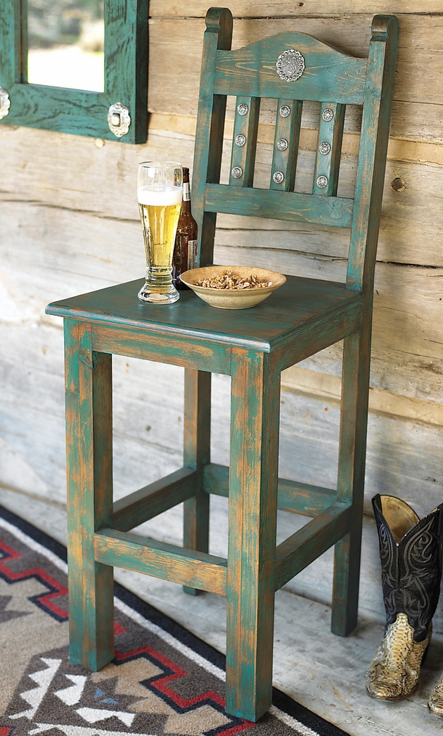 Western Furniture Distressed Turquoise Barstool Lone Star