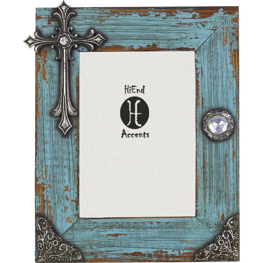 Distressed Turquoise Cross 5 x 7 Photo Frame