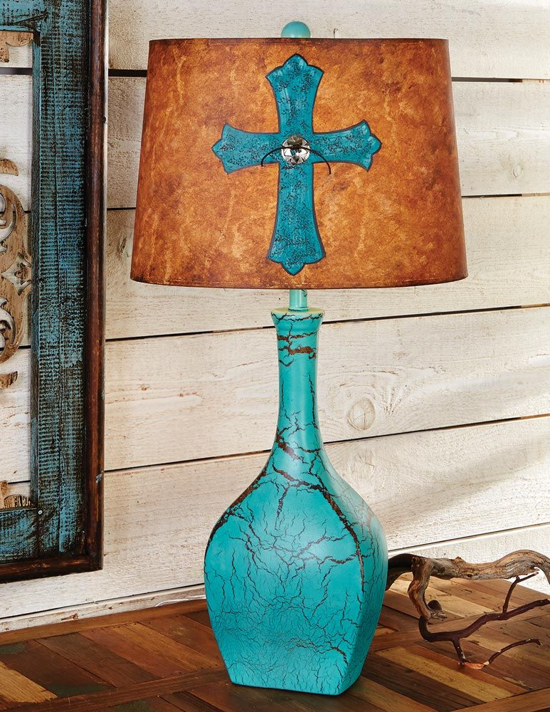 Distressed Turquoise Lamp