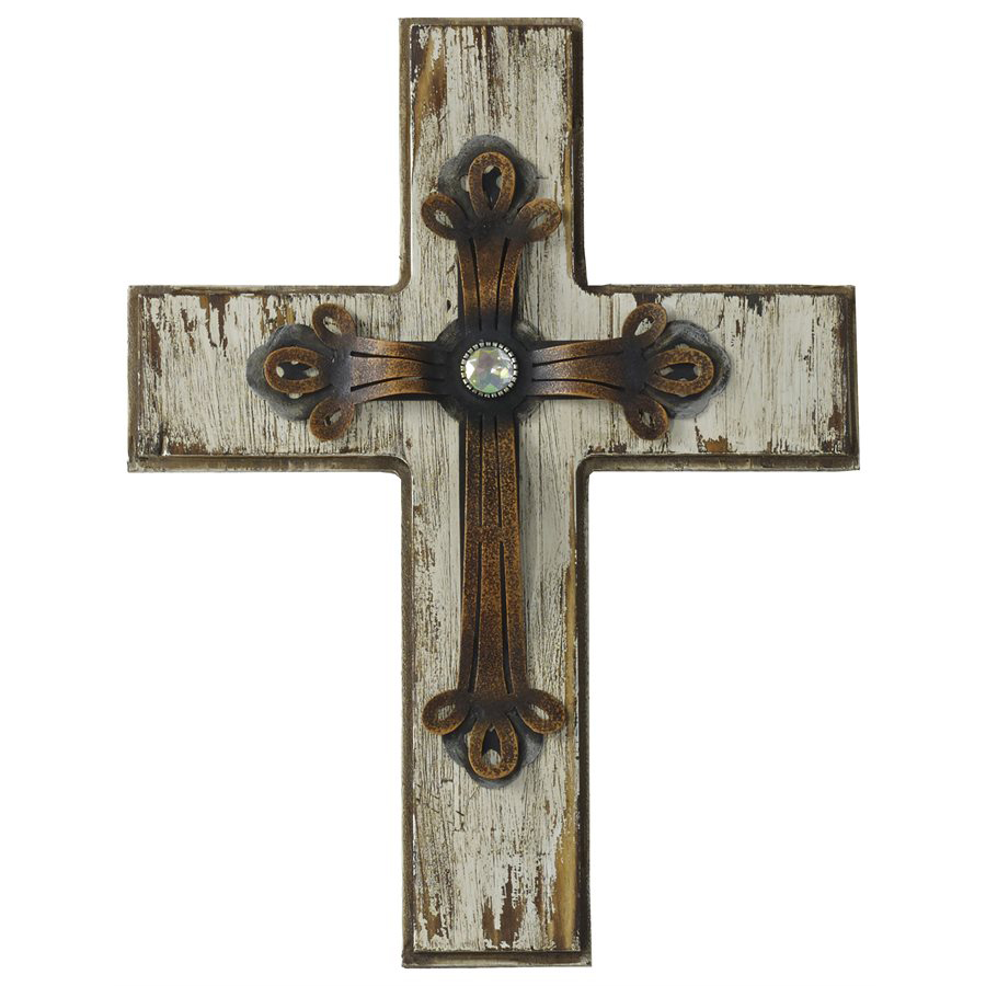 Distressed Wood & Metal Cross with Rhinesone Accent