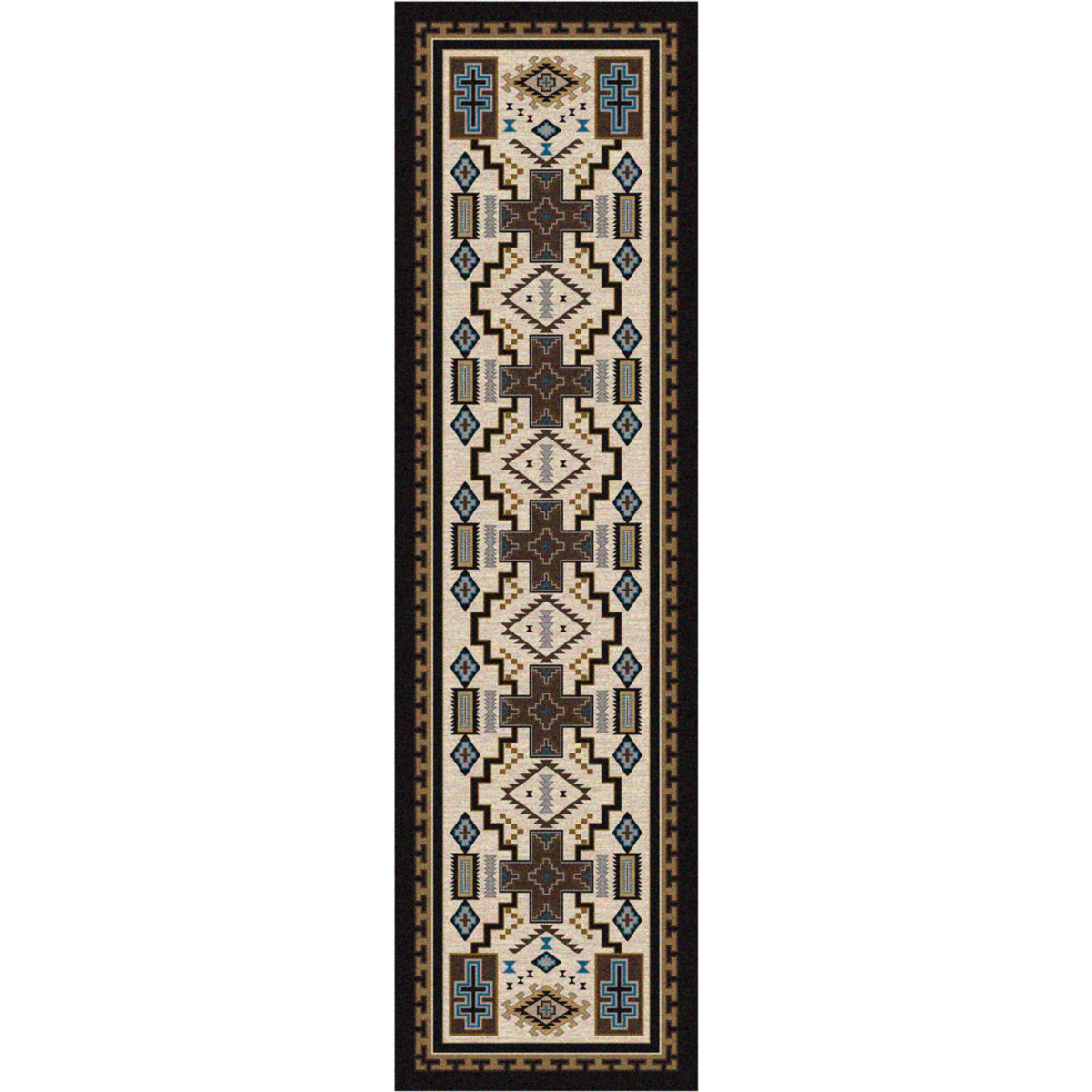 Double Cross Blue Rug - 2 x 8