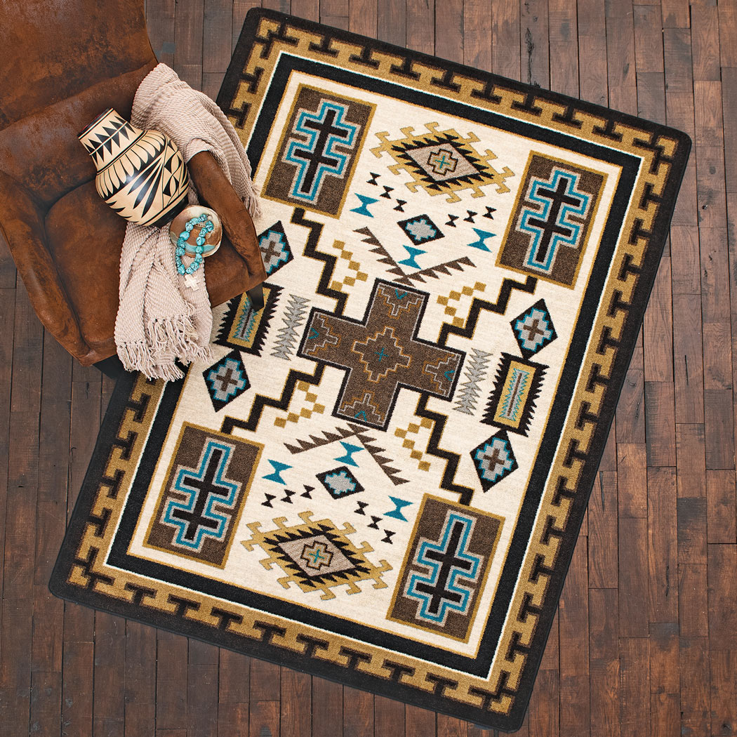 Double Cross Blue Rug - 4 x 5