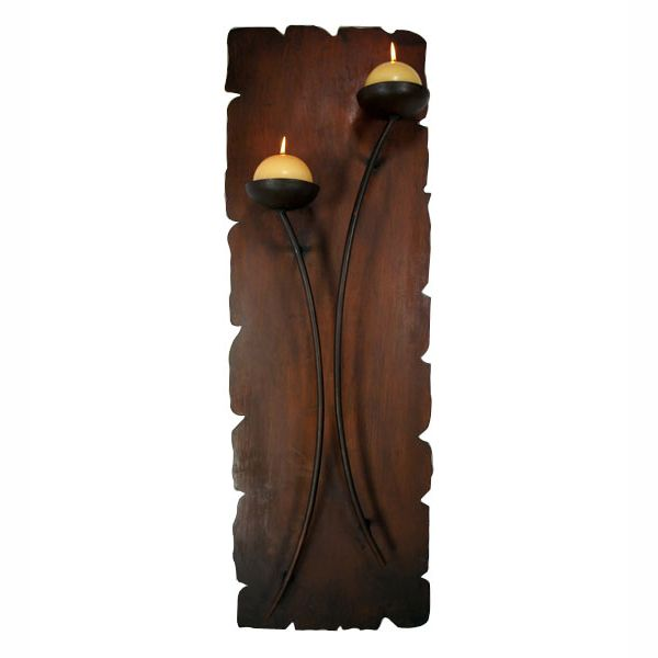 Double Curved Wall Candle Holder with Candles
