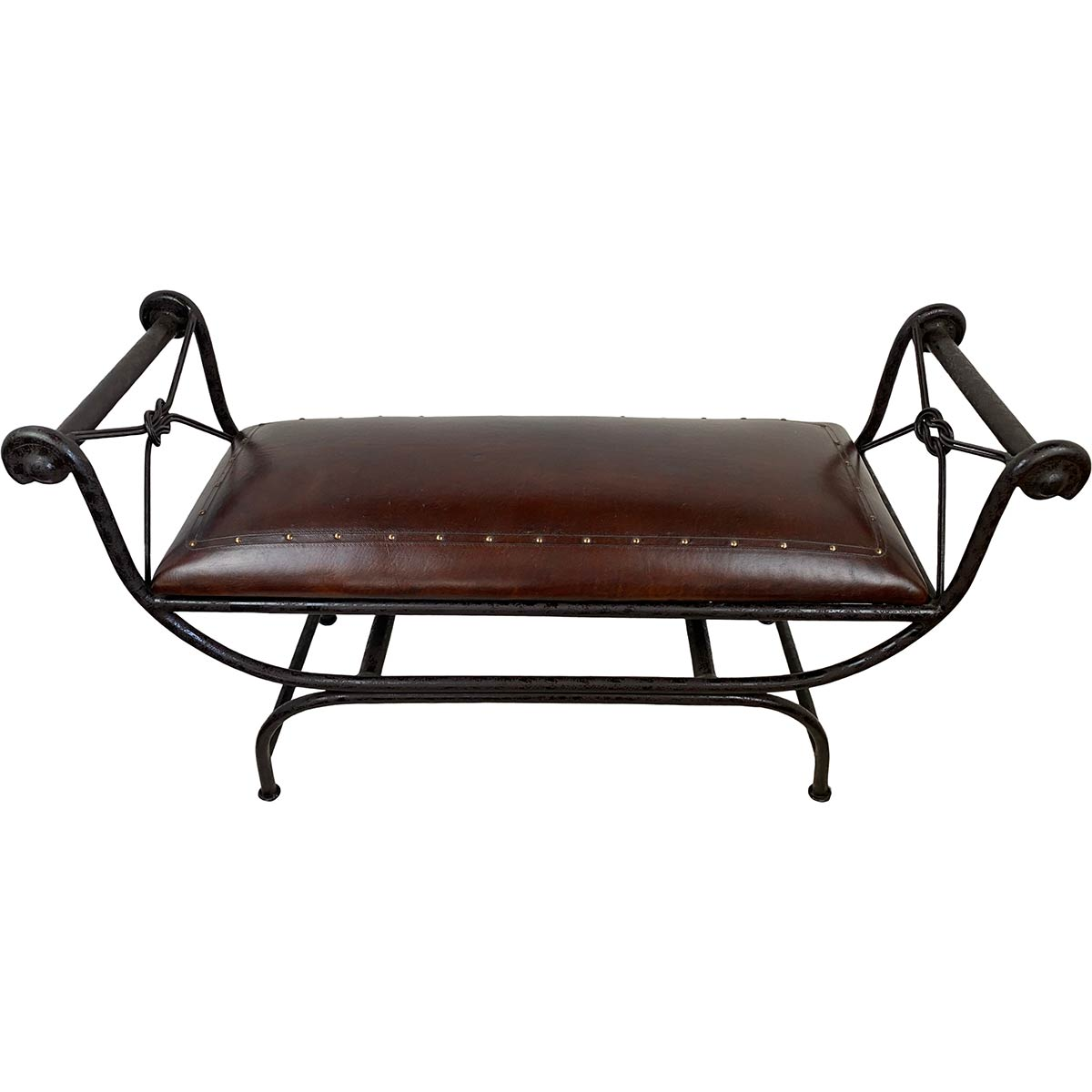 Double Vanity Bench with Tacks - Antique Brown