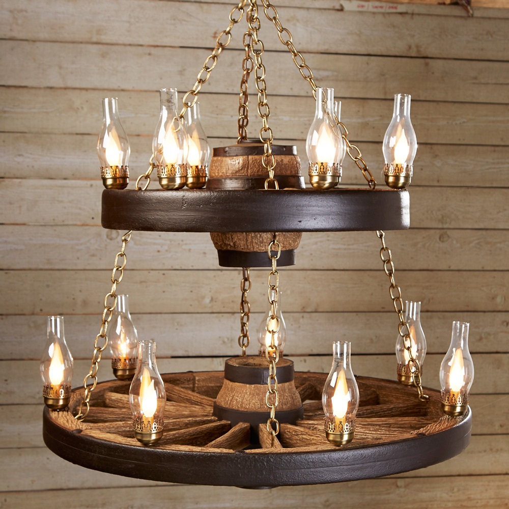 Double Wagon Wheel Chandelier