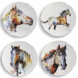 Dream Colors Horse Appetizer Plates - Set of 4