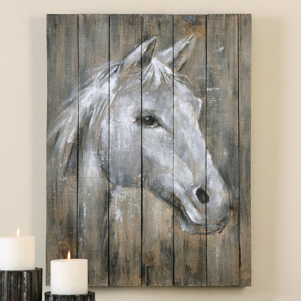 Majestic Horse Wood Panel Wall Hanging