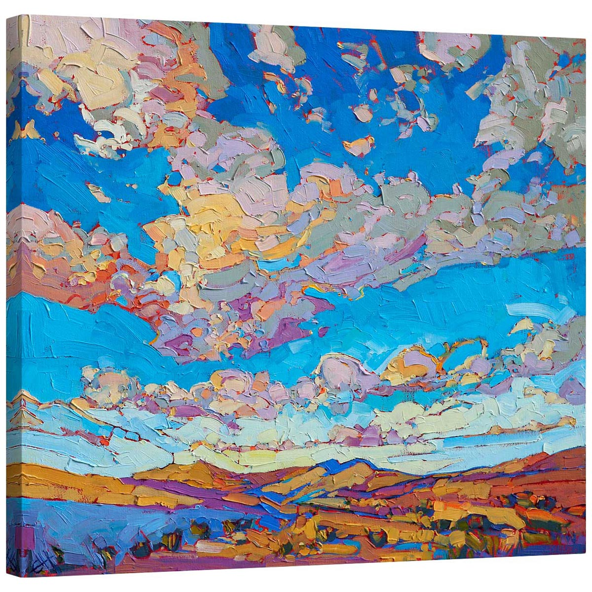 Driving Sky Mirror Wrapped Canvas