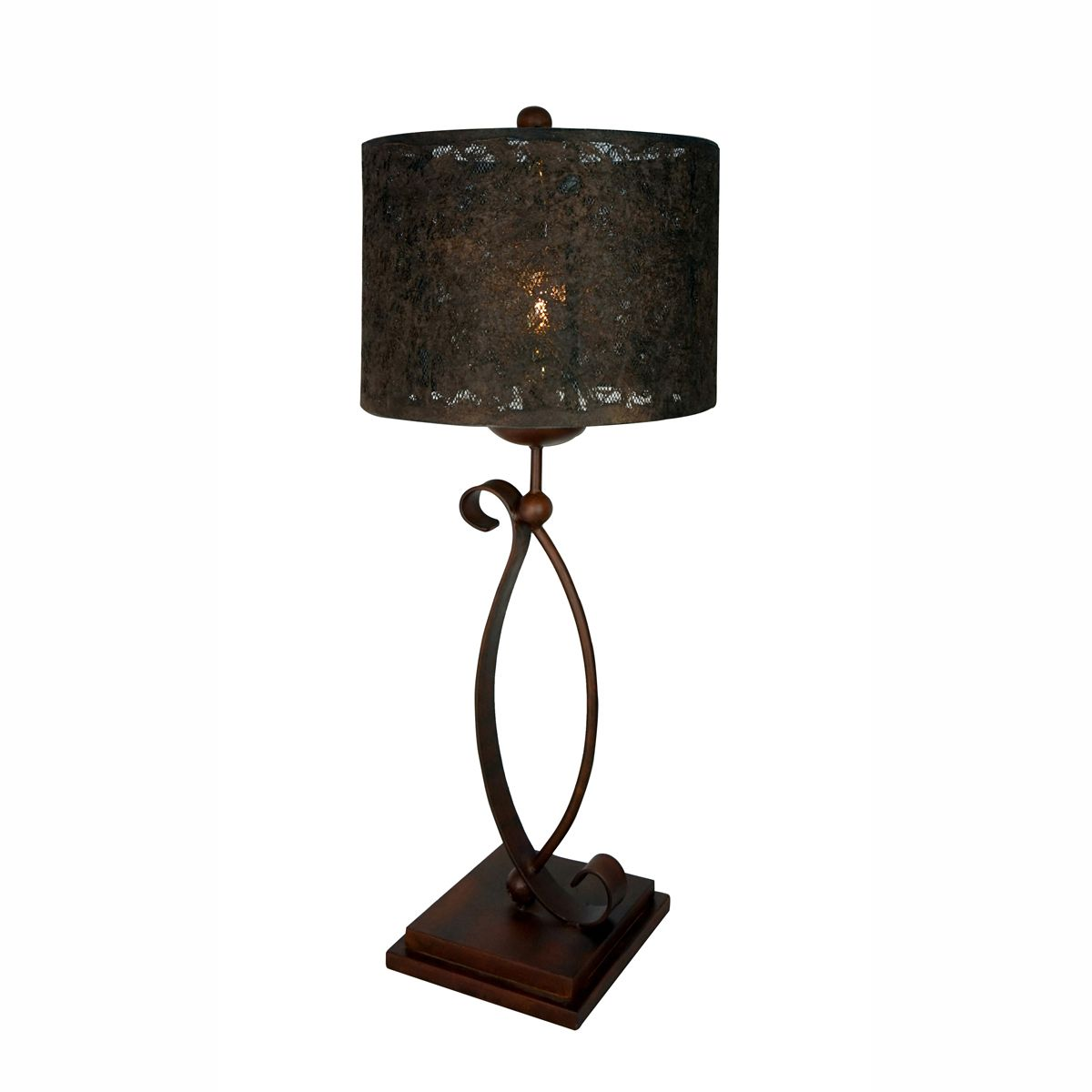 Dubai Table Lamp with Paper and Metal Netting Shade