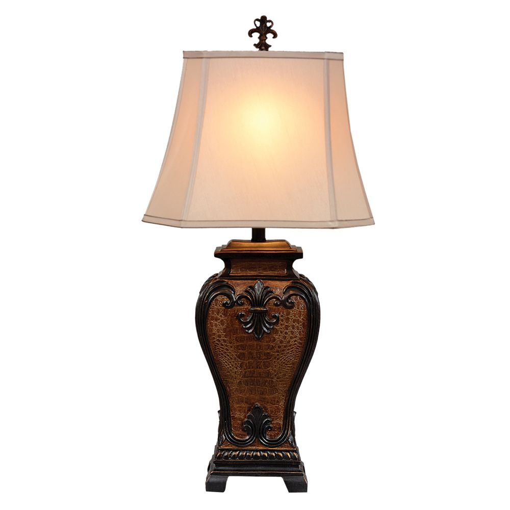 Western Faux Crocodile Table Lamp