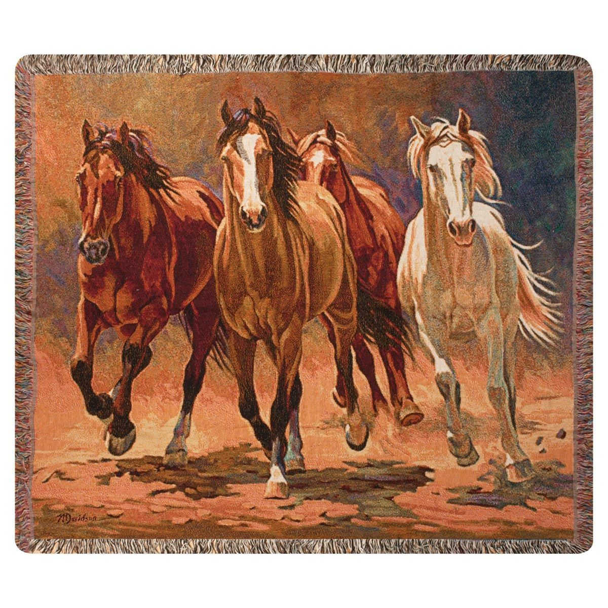 Dusty Stallions Tapestry Throw