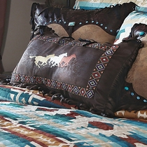 Earth & Sky Three Horses Embroidered Pillow