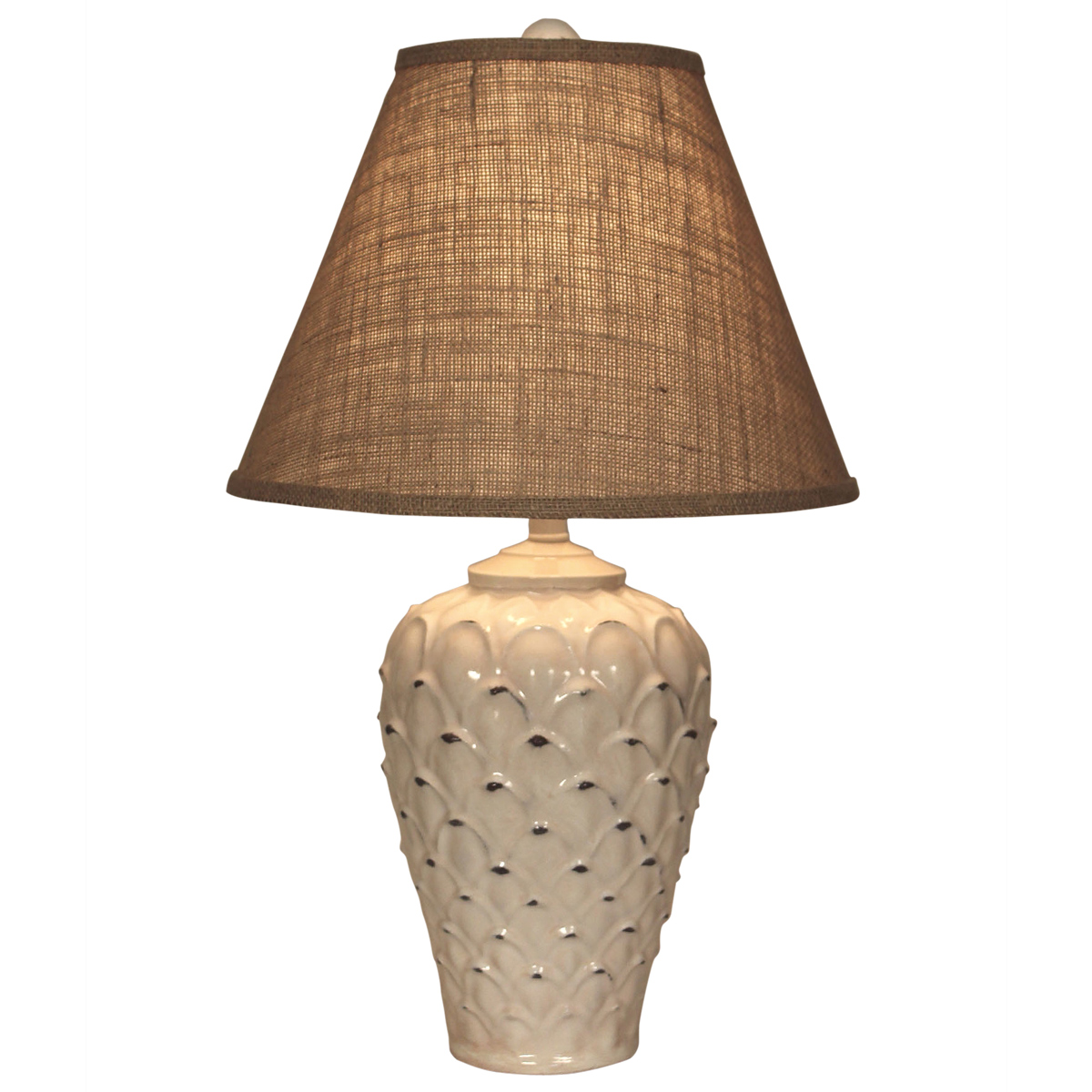 Ecru Feather Pot Table Lamp