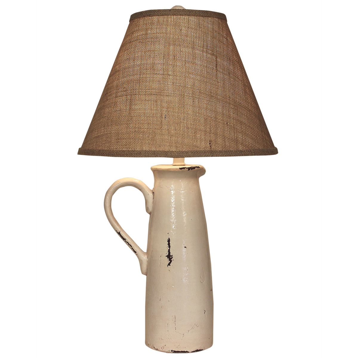 Ecru Handled Pitcher Table Lamp