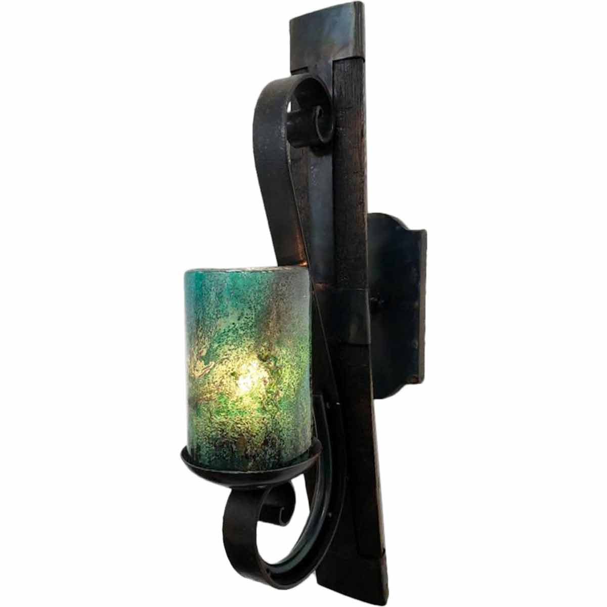 Electric Tequila Stave Wall Sconce with Turquoise Glass