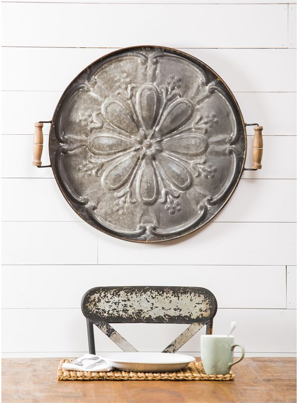 Embossed Floral Tray with Handles