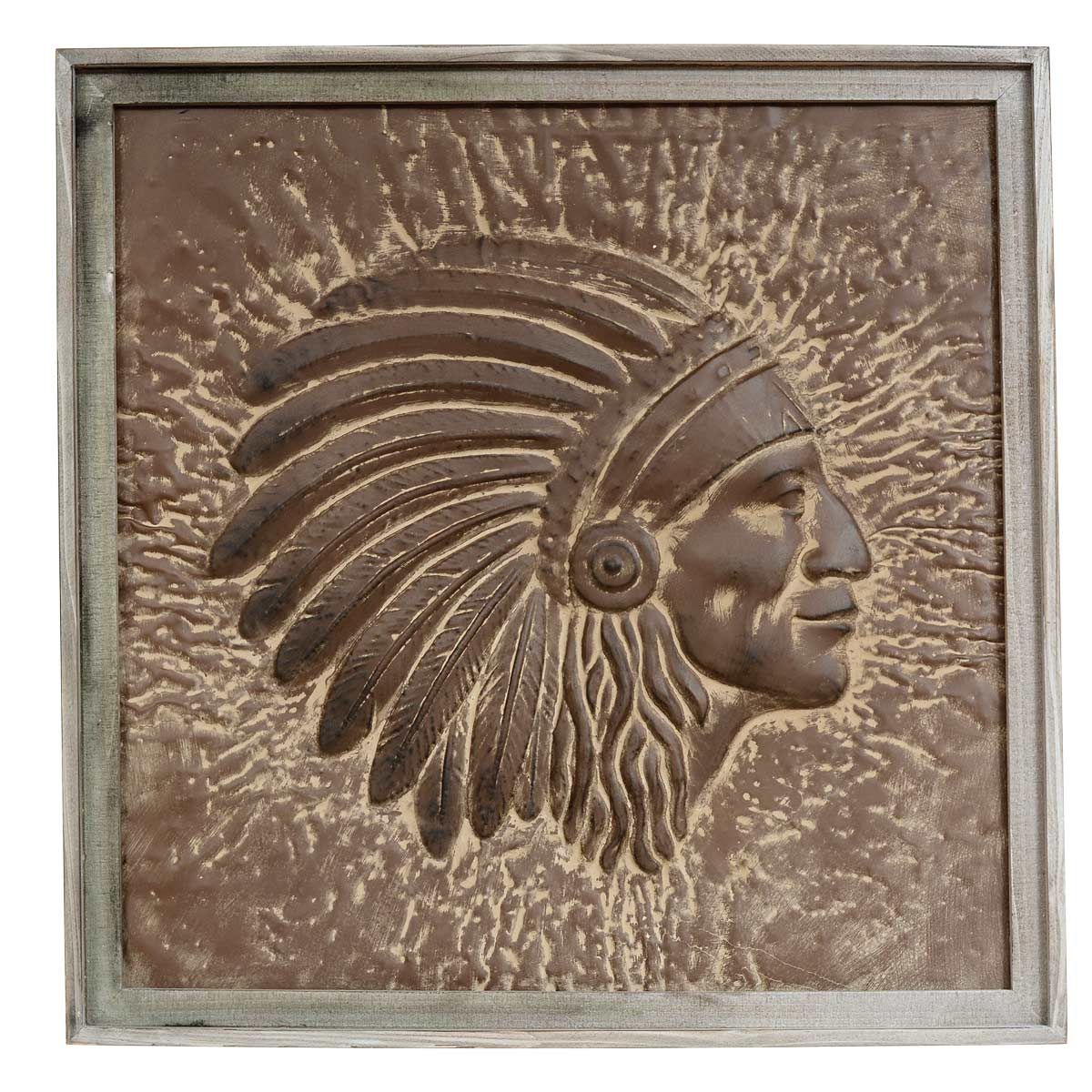 Rustic Metal Wall Art Embossed Indian Chief Framed Wall Art