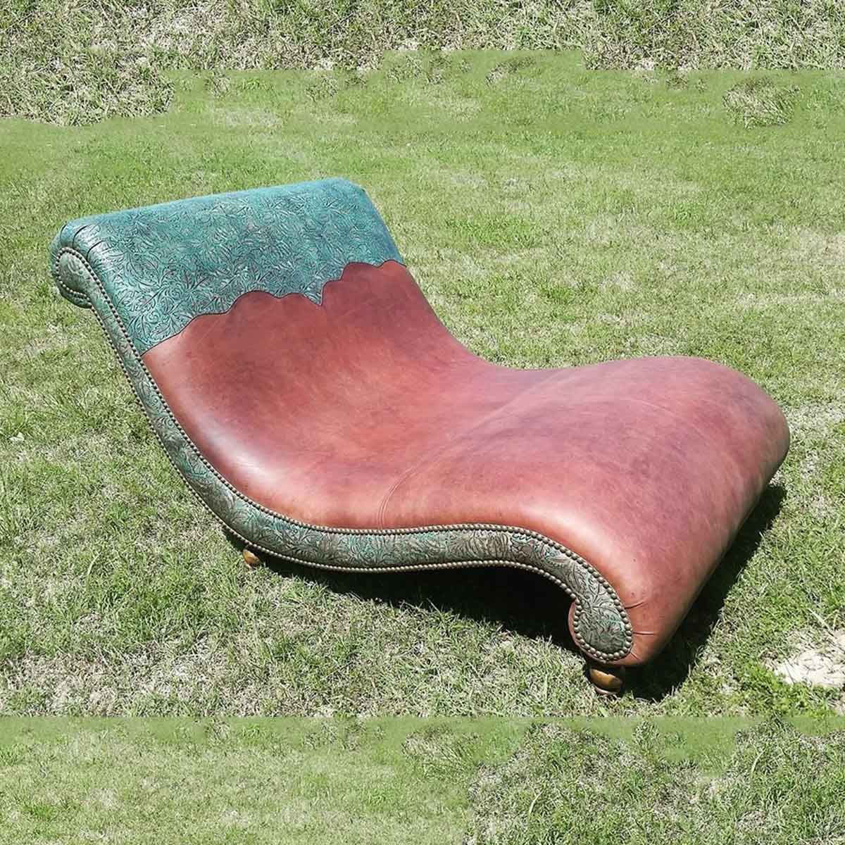 Embossed Leather and Nail Head Chaise