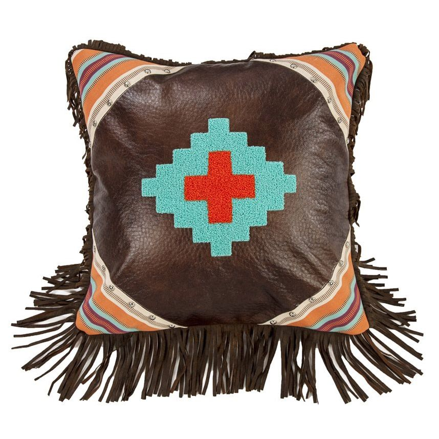 Embroidered Aztec Pillow