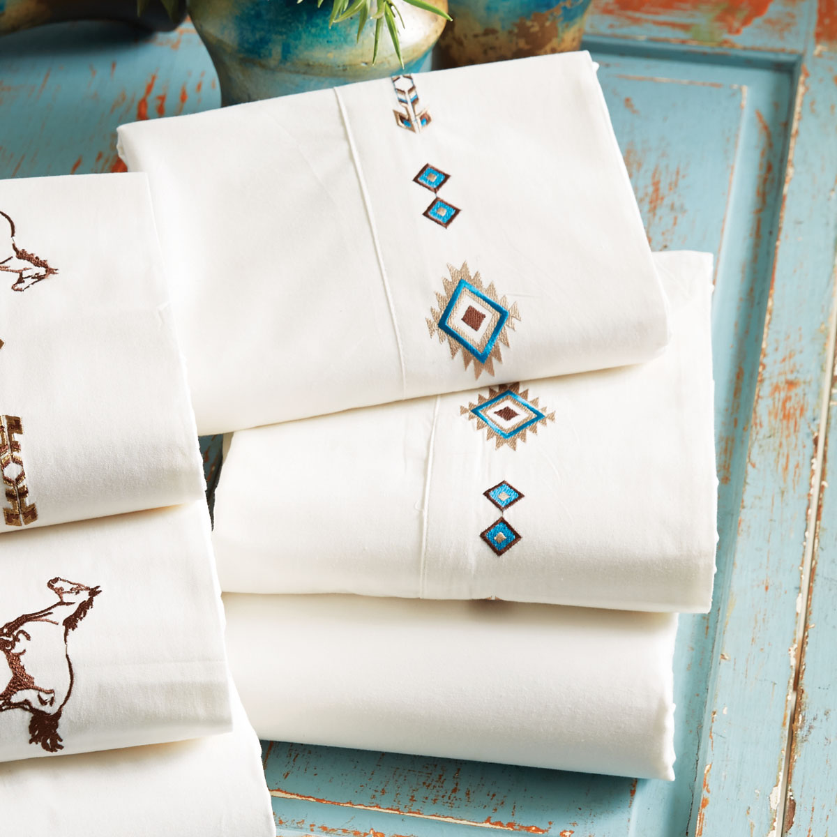 Embroidered Southwest Sheet Set - Queen