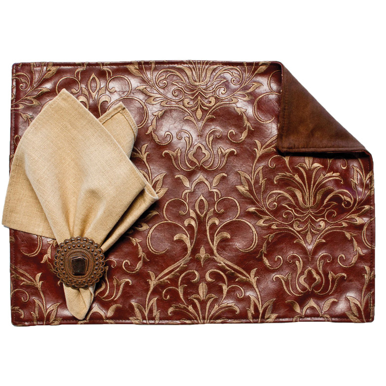 Embroidery Brown Placemats with Suave Chocolate Back - Set of 4