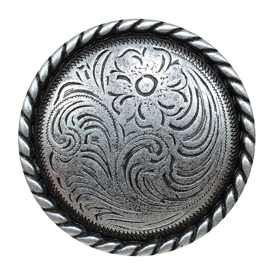 Engraved Flower Cabinet Knob