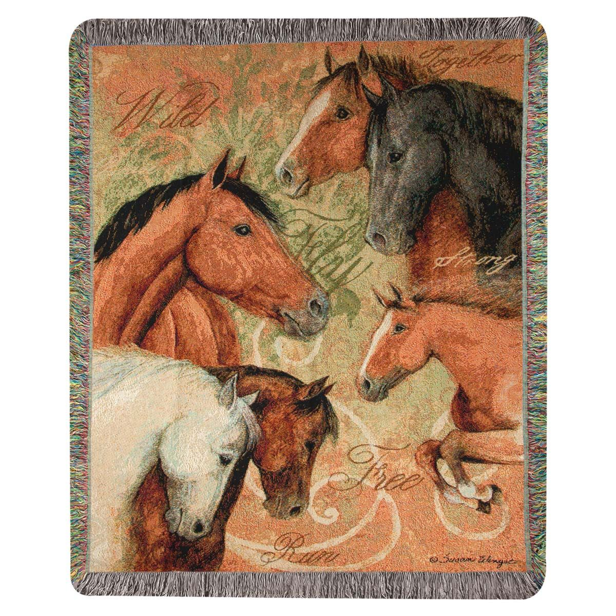 Equestrian Family Tapestry Throw