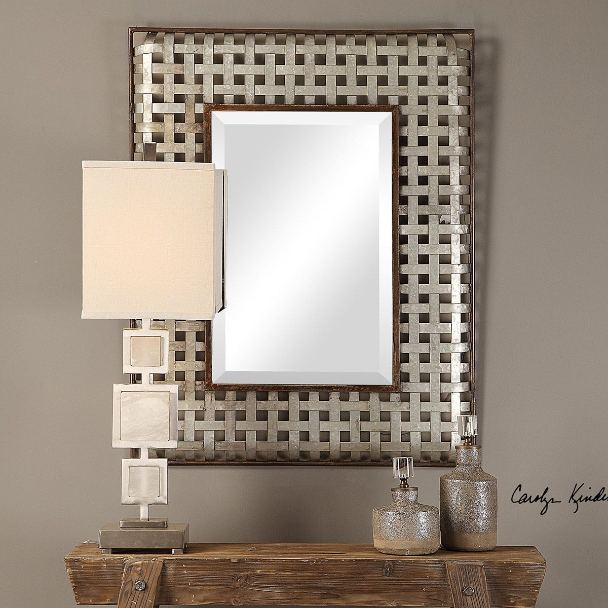 Fabelle Galvanized Metal Wall Mirror