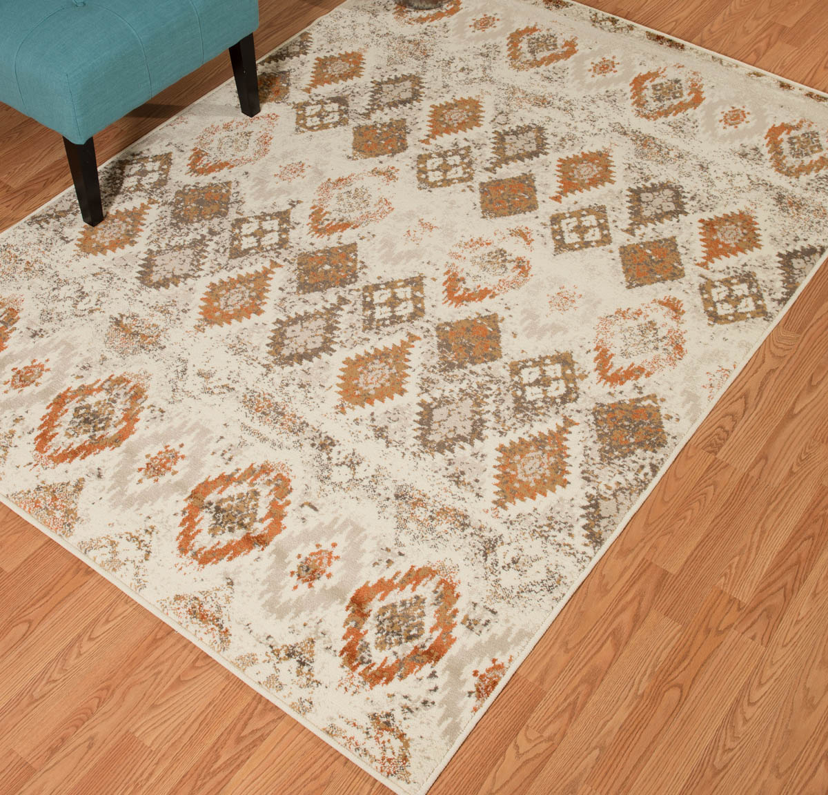 Faded Sawtooth Linen Diamond Rug - 2 x 3