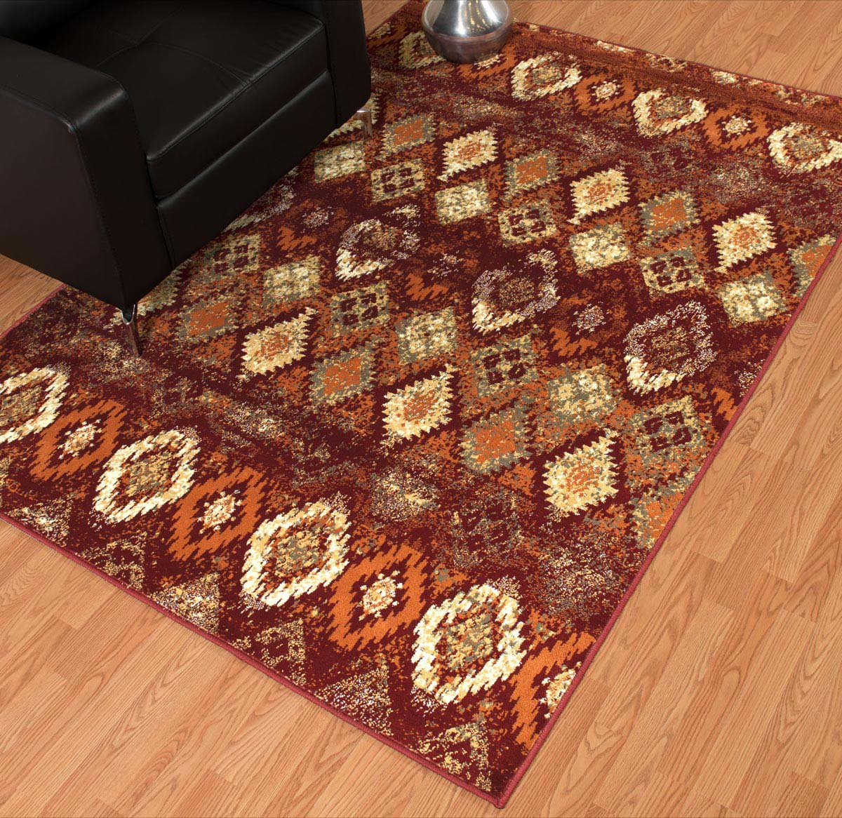 Faded Sawtooth Terra Cotta Diamond Rug - 2 x 7