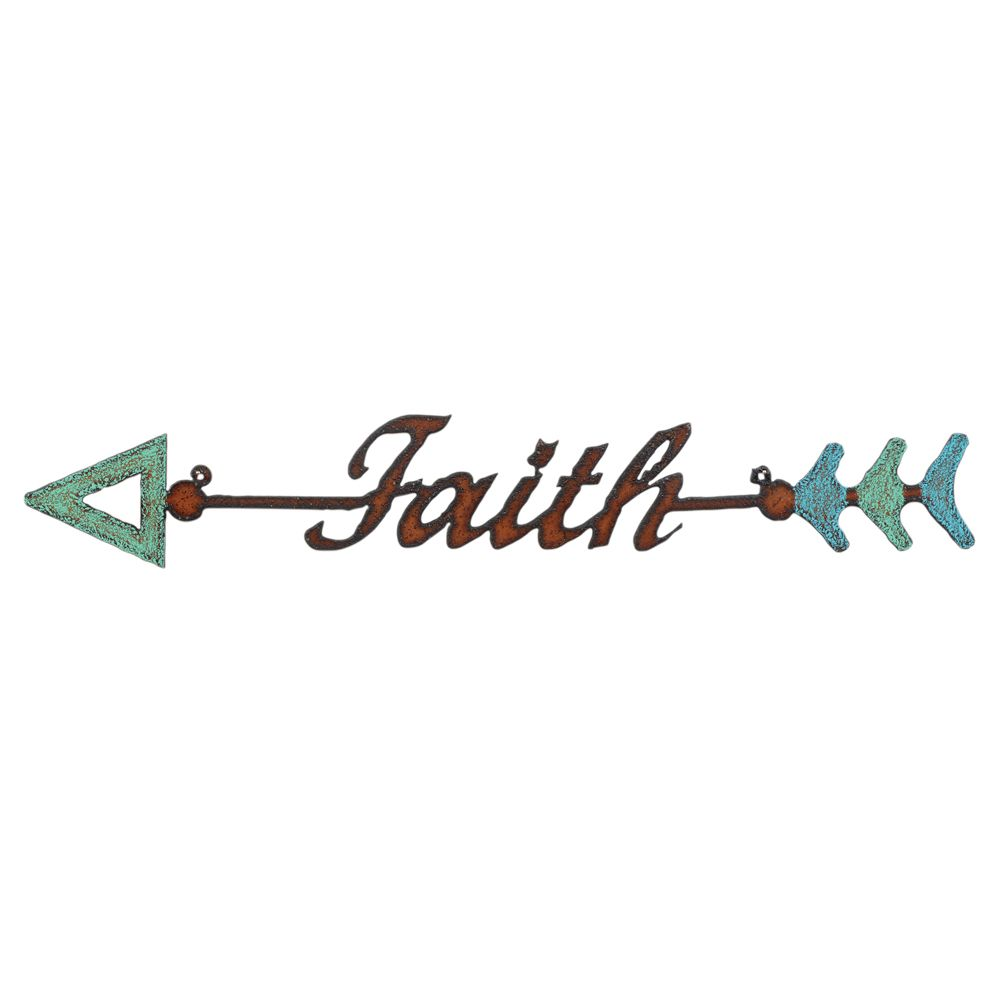 Faith Colorful Arrow Metal Wall Art