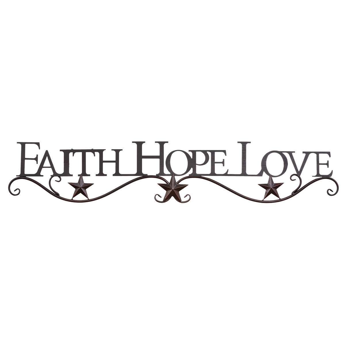 Faith, Hope, Love Metal Star Wall Hanging