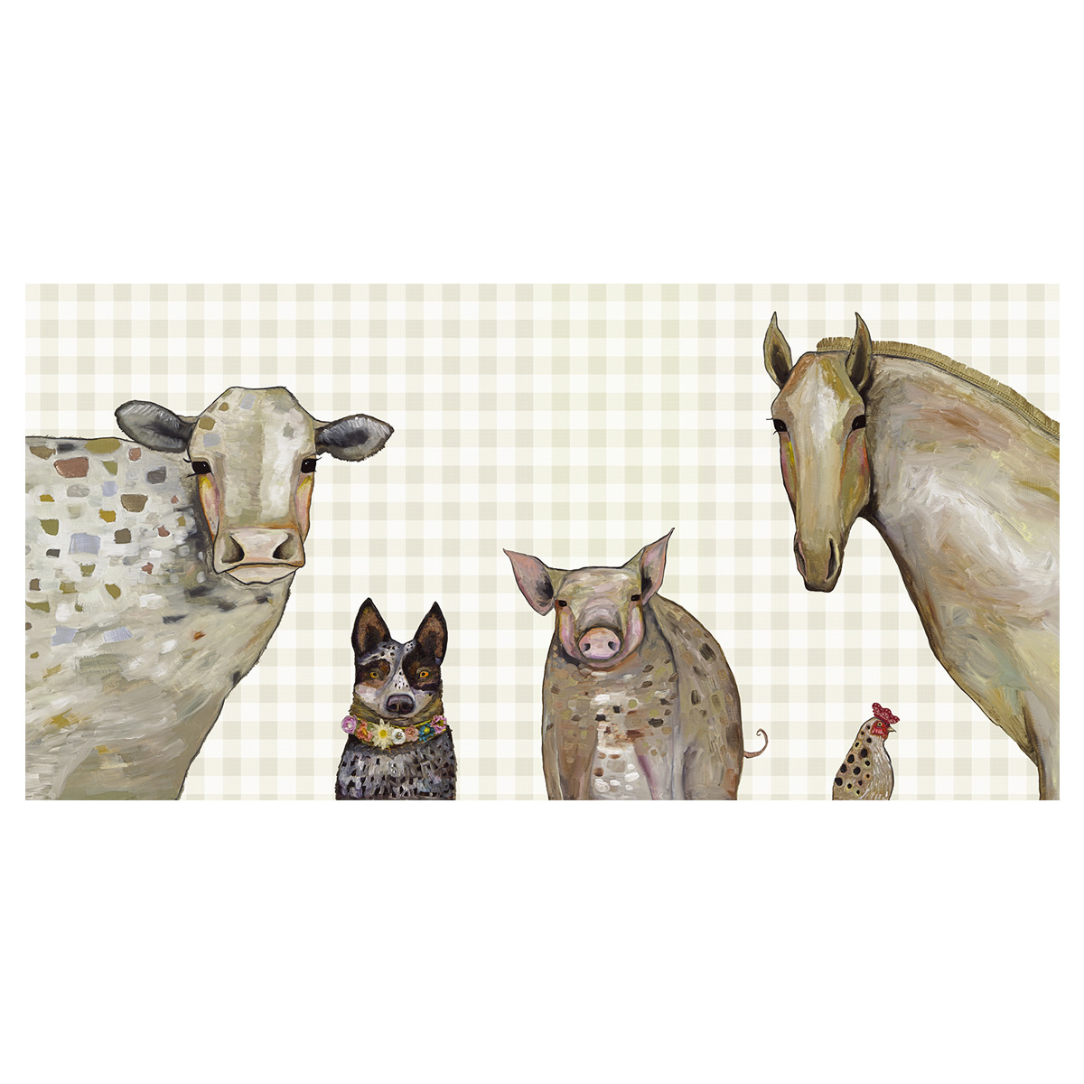Farm Animals Plaid Canvas Art