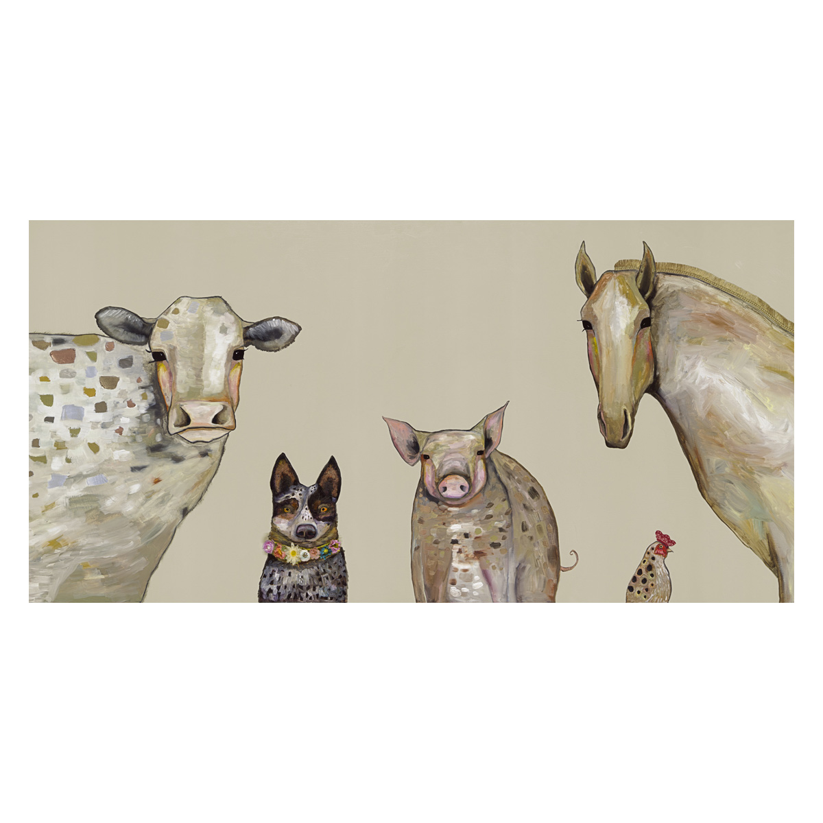 Farm Animals Taupe Canvas Art