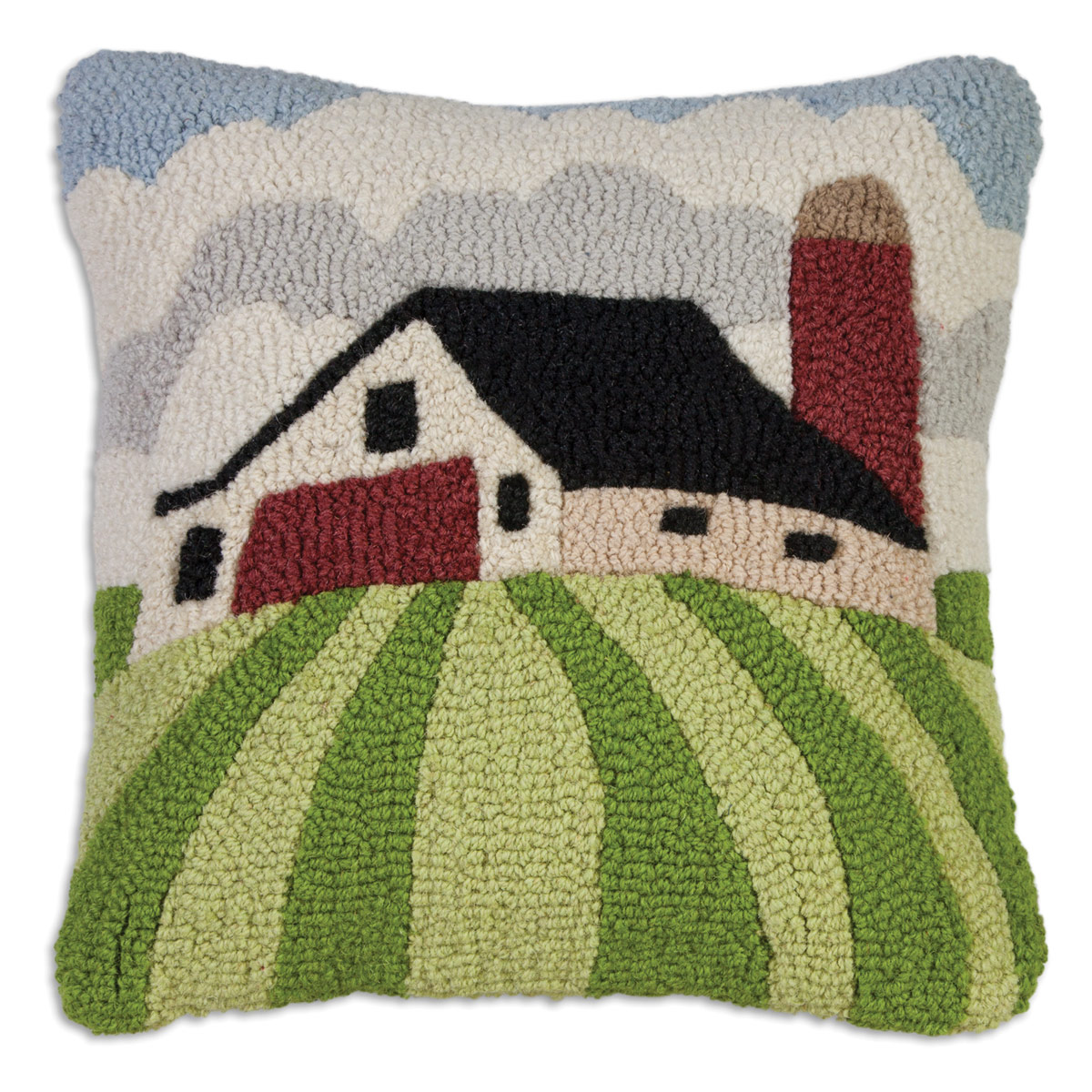Farmhouse Hooked Wool Pillow