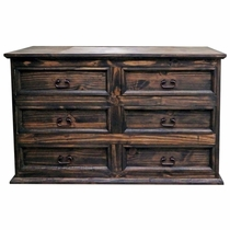 Farmhouse Pine 6 Drawer Dresser - Natural Dark