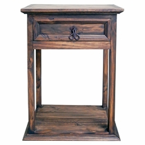 Farmhouse Pine Nightstand - Natural Dark