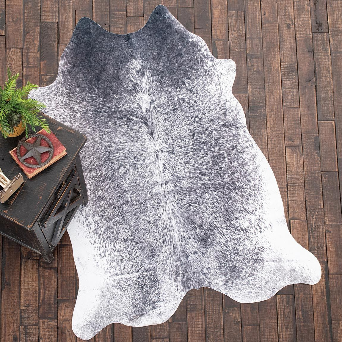 Faux Cowhide Rug - Black & White Brindle