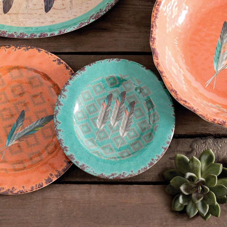 Feather Design Melamine Salad Plates - Set of 4