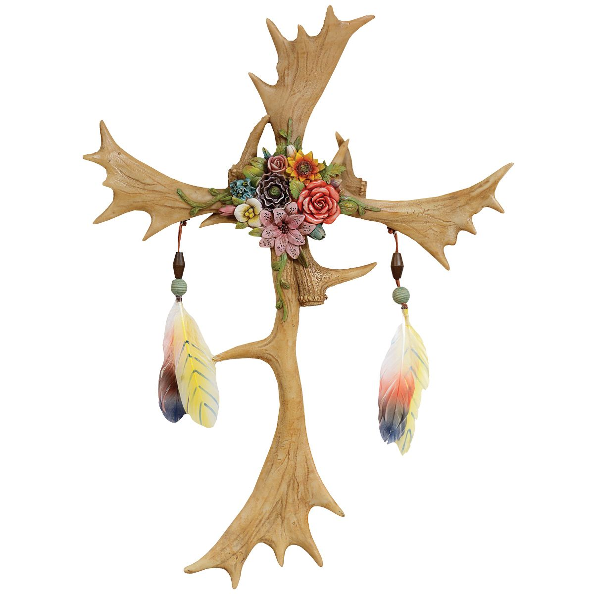 Feathered Antler Wall Cross