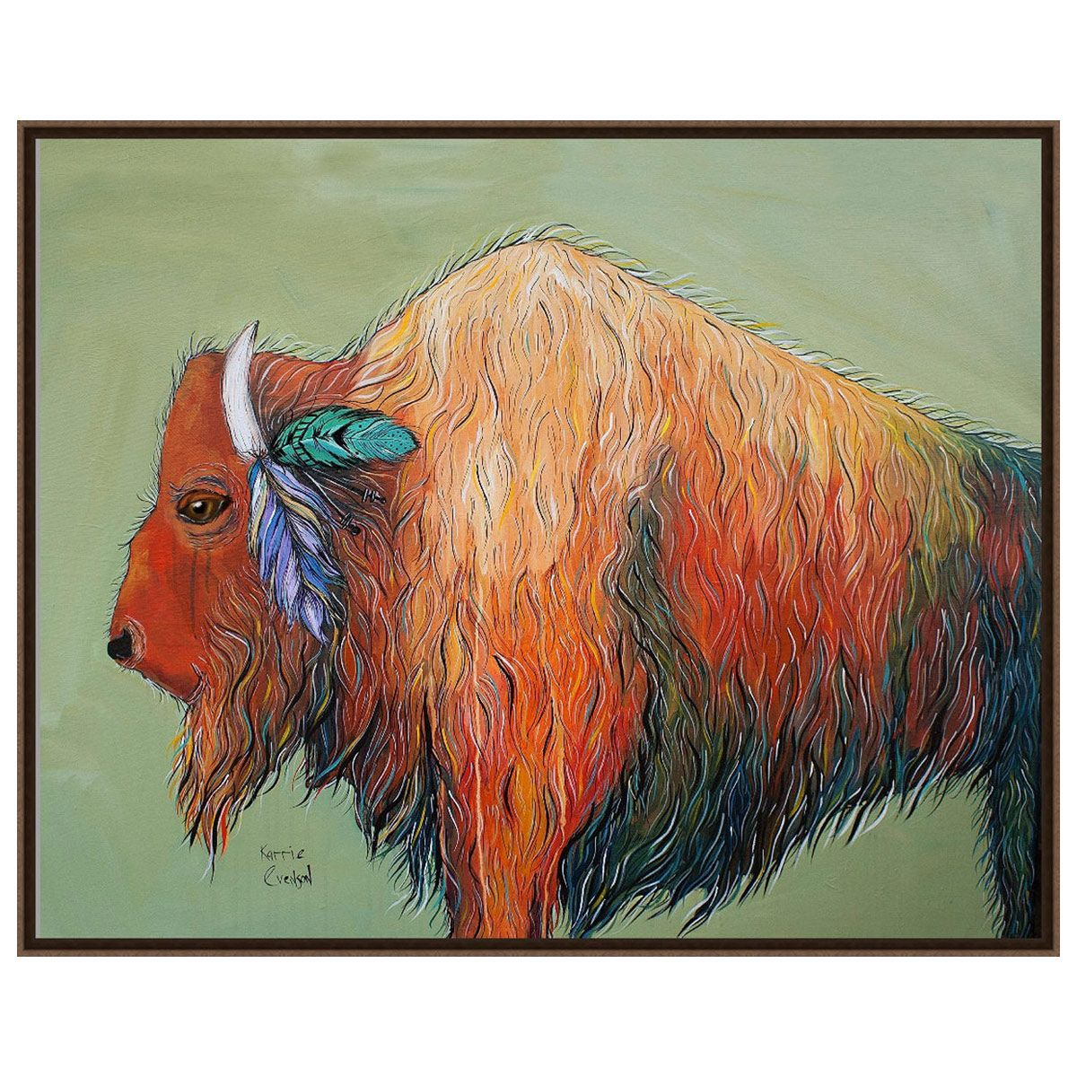 Feathered Bison Wall Art