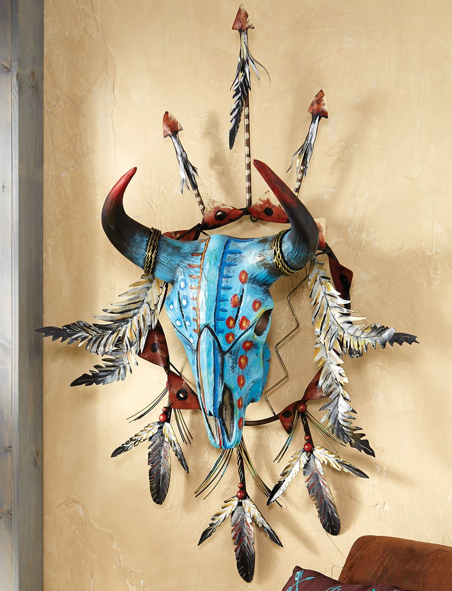 Feathered Steer Skull Wall Sculpture