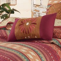 Fire Dance Embroidered Sunburst Pillow